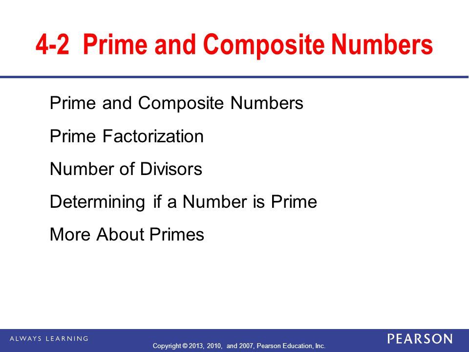 4-2 Prime and Composite Numbers