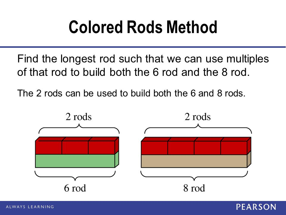 Colored Rods Method Find the longest rod such that we can use multiples of that rod to build both the 6 rod and the 8 rod.