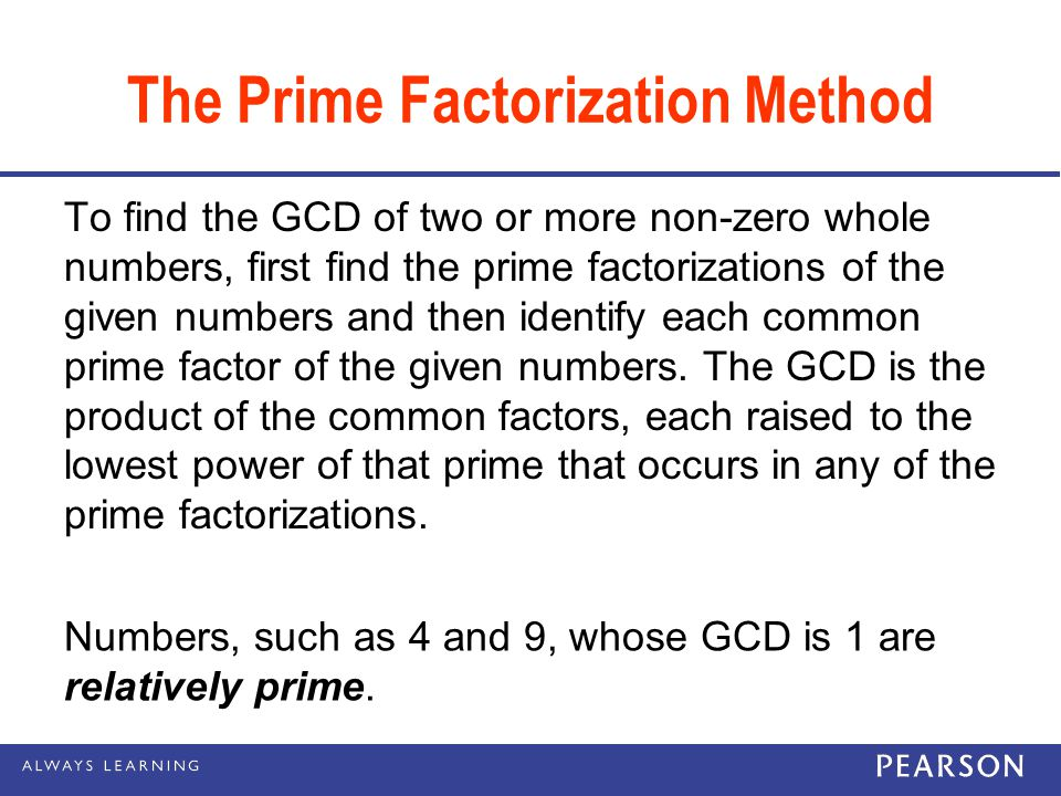 The Prime Factorization Method