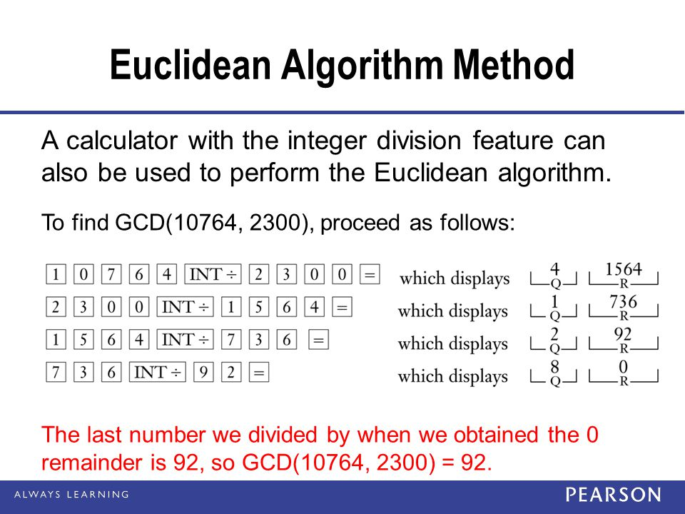 Euclidean Algorithm Method