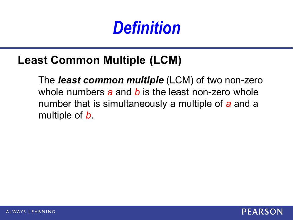 Definition Least Common Multiple (LCM)
