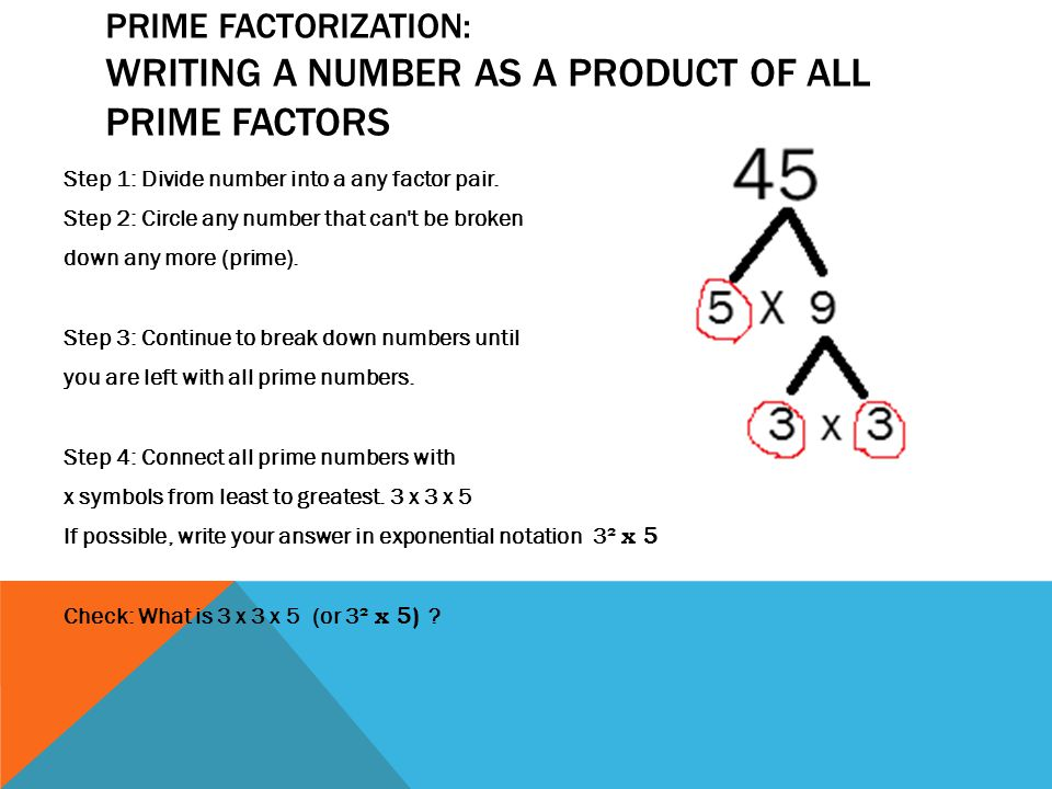 Prime Factorization: writing a number as a product of all prime factors