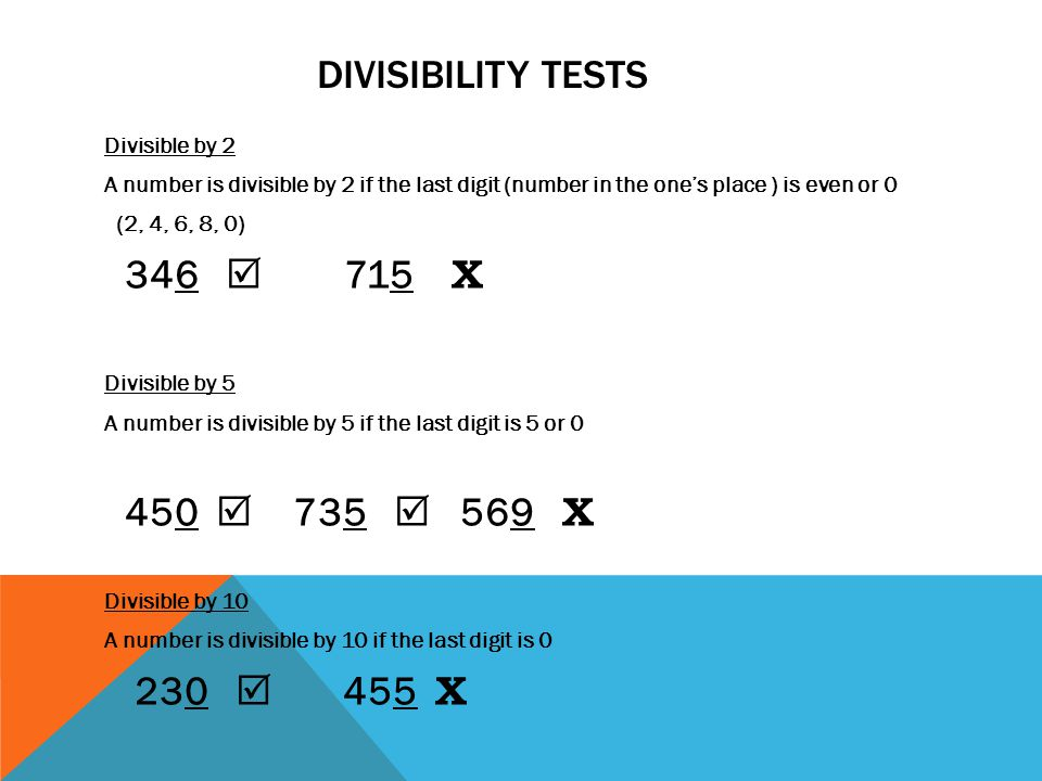 Divisibility tests 346  715 Χ 450  735  569 Χ 230  455 Χ