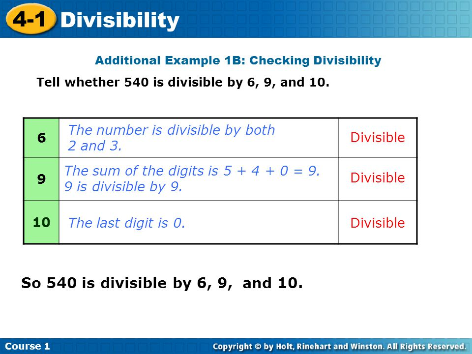 Additional Example 1B: Checking Divisibility