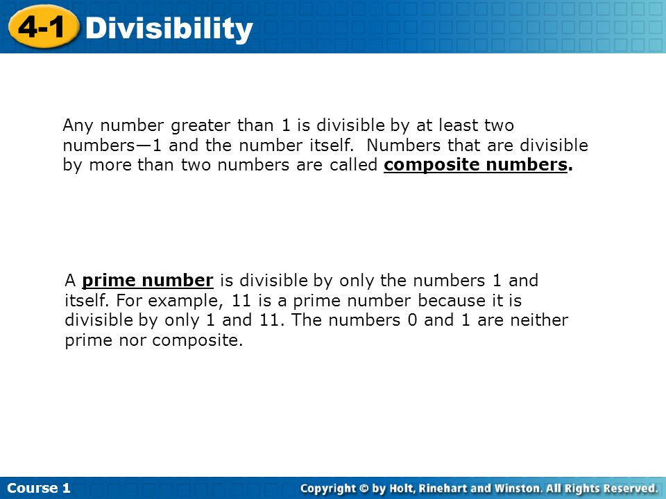 Course 1 4-1. Divisibility.