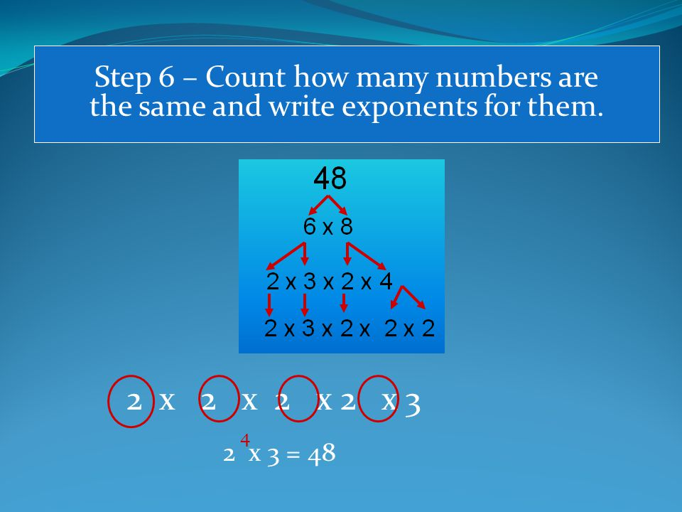 2 x 2 x 2 x 2 x 3 Step 6 – Count how many numbers are