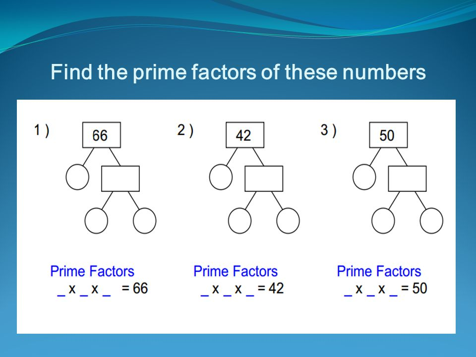 Find the prime factors of these numbers