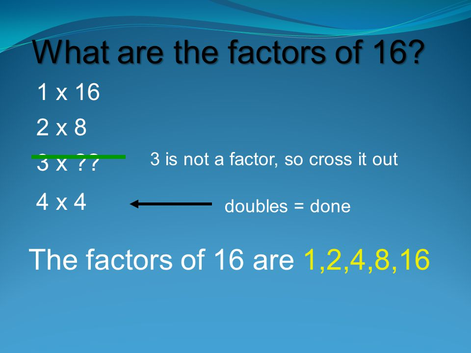 What are the factors of 16 The factors of 16 are 1,2,4,8,16 1 x 16