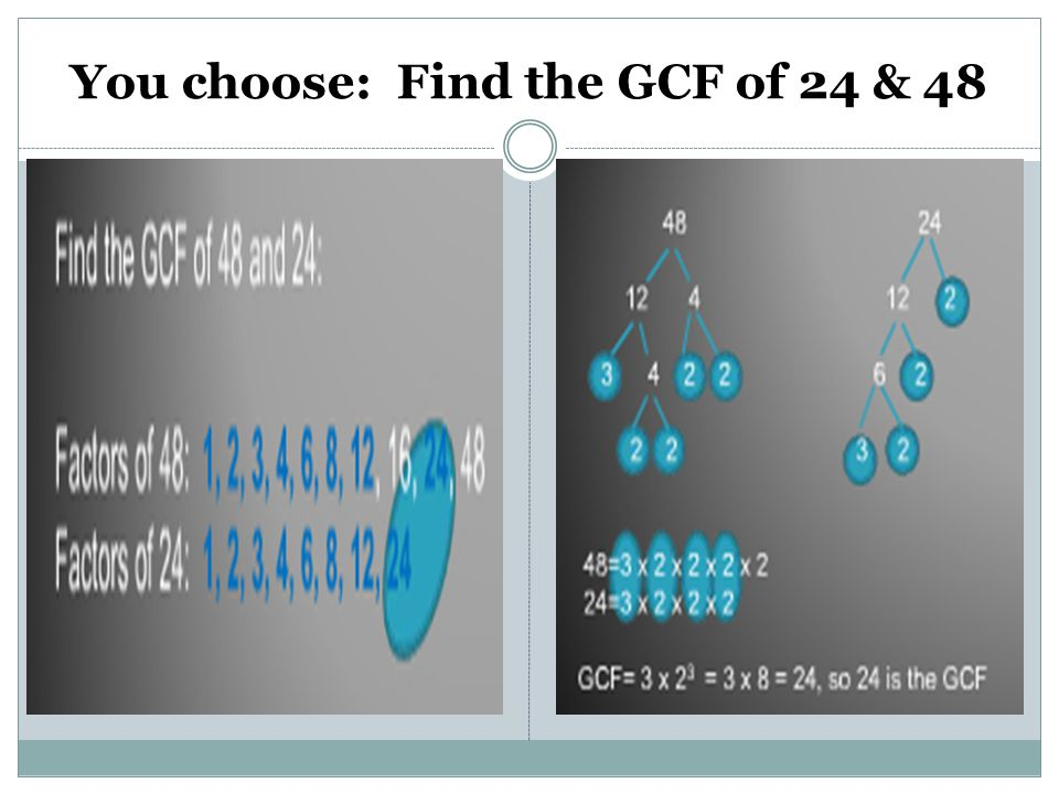 You choose: Find the GCF of 24 & 48