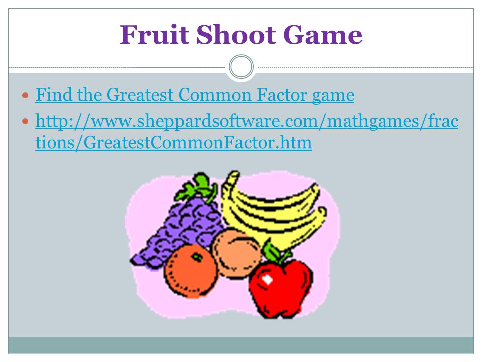 Fruit Shoot Game Find the Greatest Common Factor game