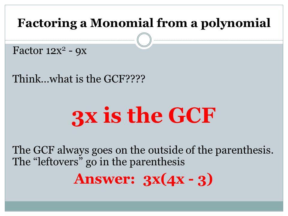 Factoring gcf polynomials worksheet