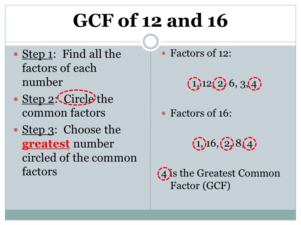 GCF of 12 and 16 Step 1: Find all the factors of each number