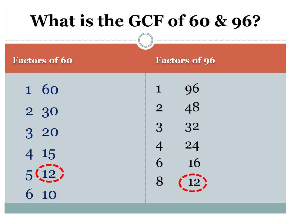 What is the GCF of 60 & 96. Factors of 60. Factors of 96.
