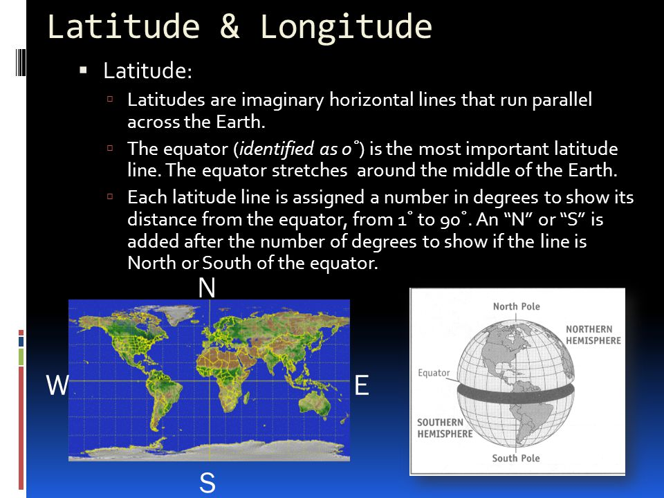 Latitude & Longitude N S E W Latitude: