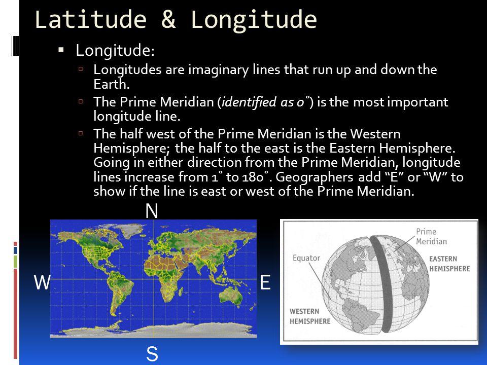 Latitude & Longitude N S E W Longitude: