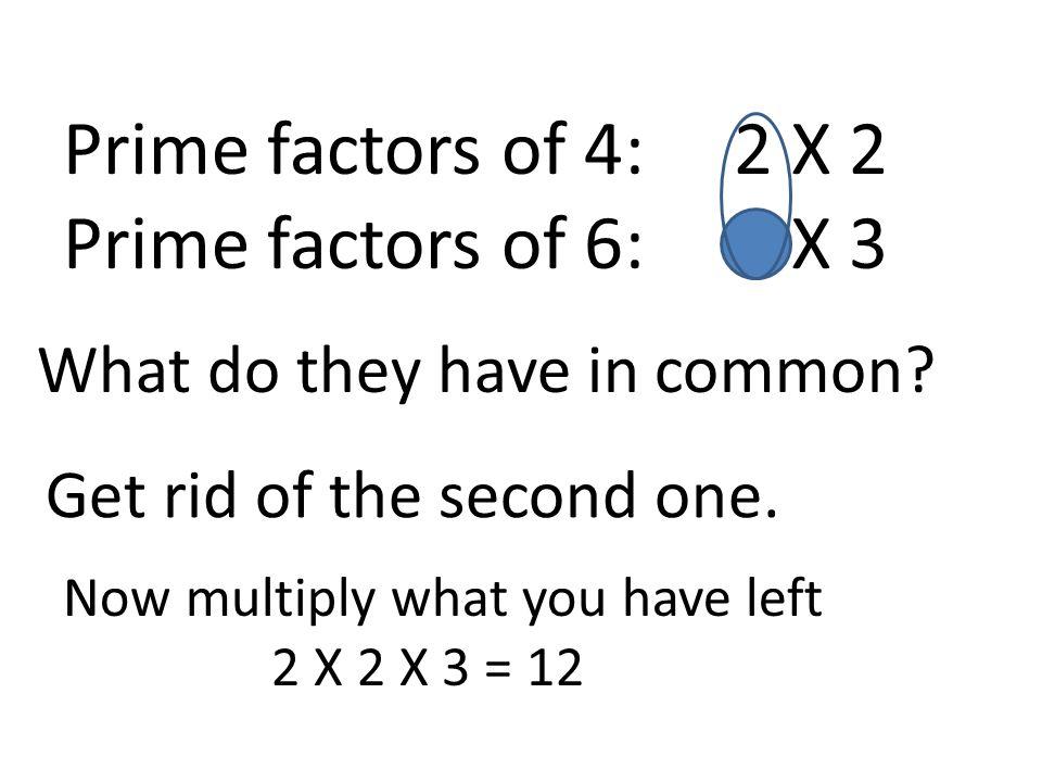 Prime factors of 4: 2 X 2 Prime factors of 6: 2 X 3