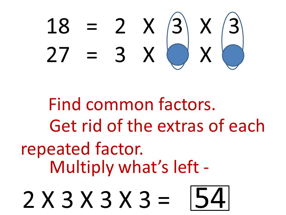 18 = 2 X 3 X 3 27 = 3 X 3 X 3 Find common factors.