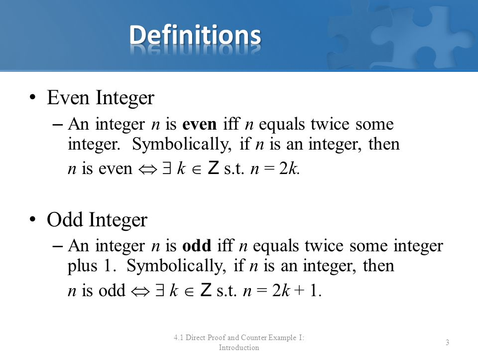 4.1 Direct Proof and Counter Example I: Introduction