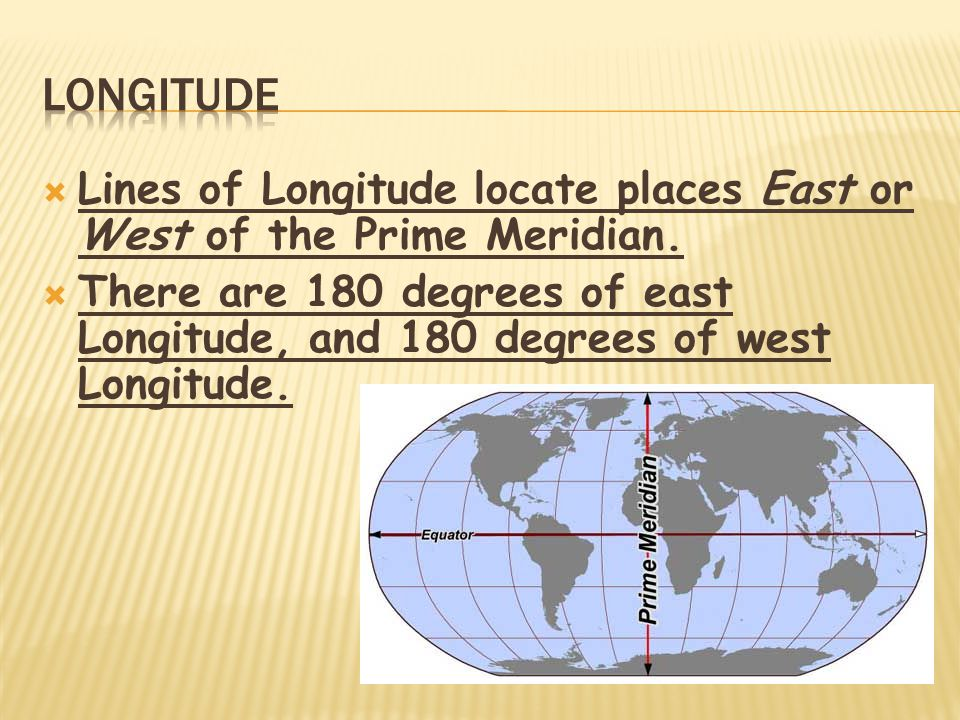 Longitude Lines of Longitude locate places East or West of the Prime Meridian.