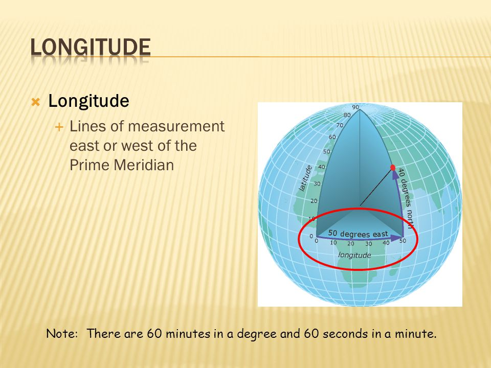 Longitude Longitude. Lines of measurement east or west of the Prime Meridian.