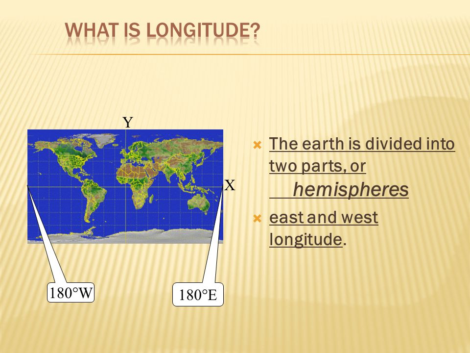 What is Longitude The earth is divided into two parts, or hemispheres