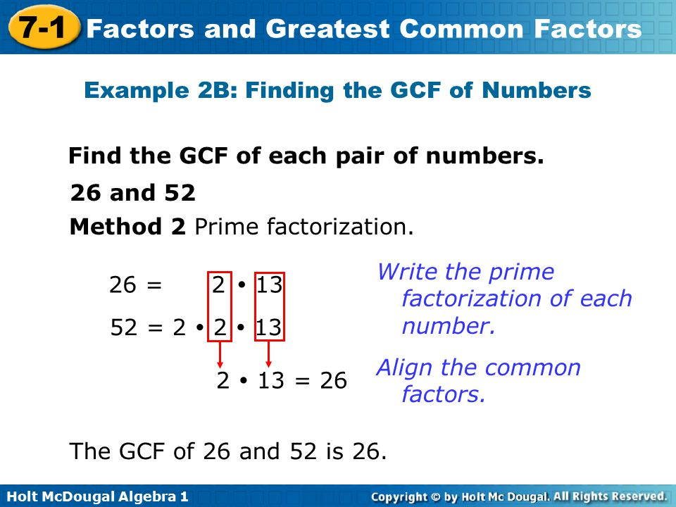 Example 2B: Finding the GCF of Numbers