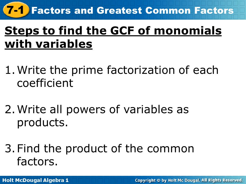 Steps to find the GCF of monomials with variables