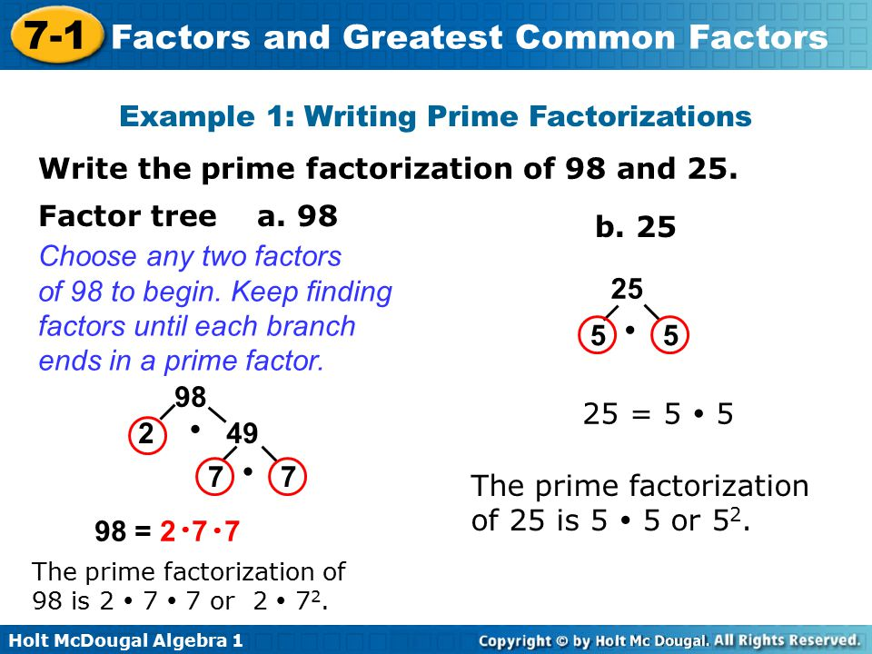 Example 1: Writing Prime Factorizations