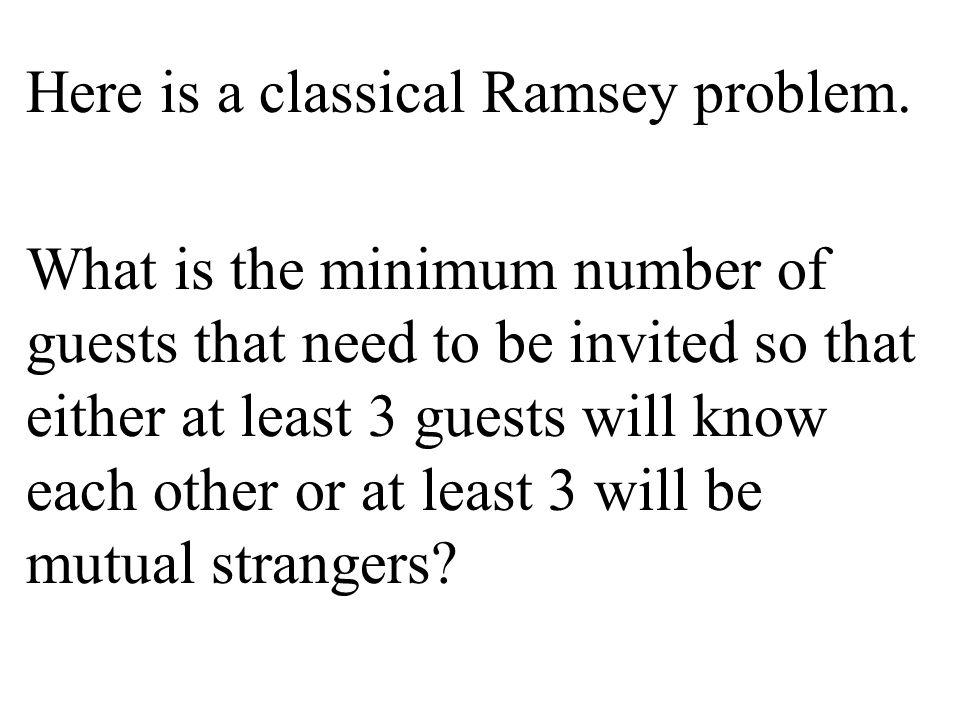 Here is a classical Ramsey problem