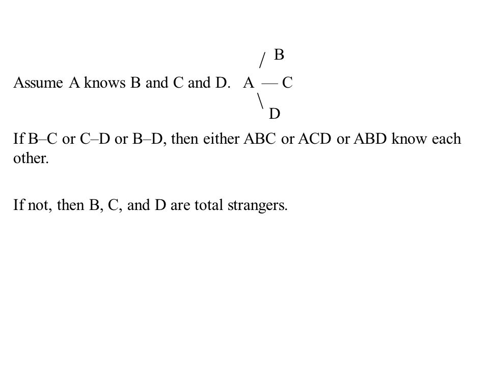 / B Assume A knows B and C and D. A –– C \ D