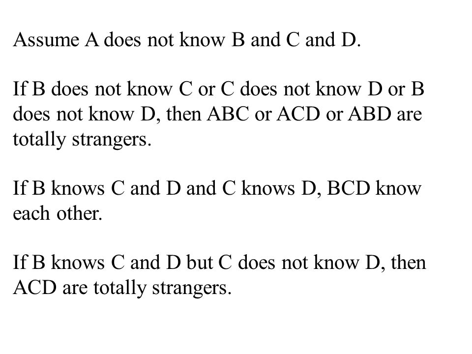 Assume A does not know B and C and D