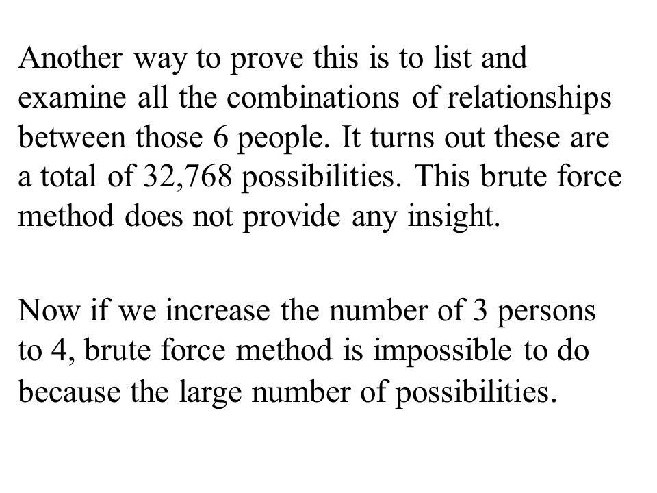 Another way to prove this is to list and examine all the combinations of relationships between those 6 people.