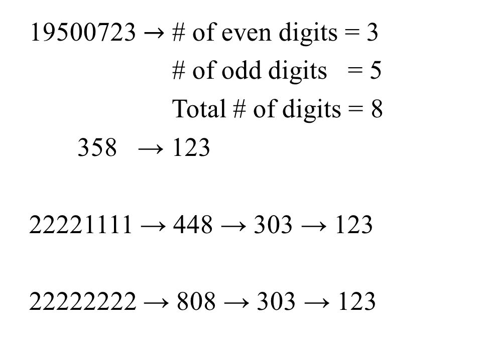 19500723 → # of even digits = 3 # of odd digits = 5 Total # of digits = 8 358 → 123 22221111 → 448 → 303 → 123 22222222 → 808 → 303 → 123