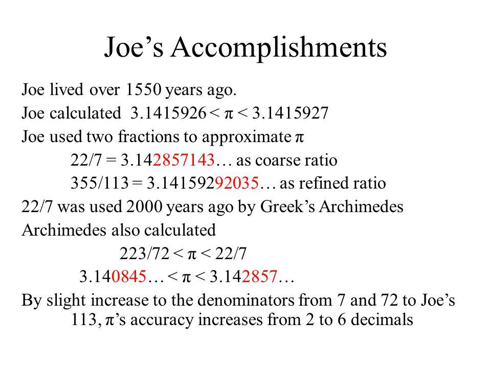 Joe's Accomplishments