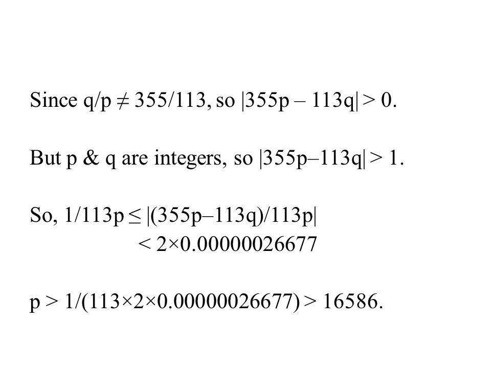 Since q/p ≠ 355/113, so |355p – 113q| > 0