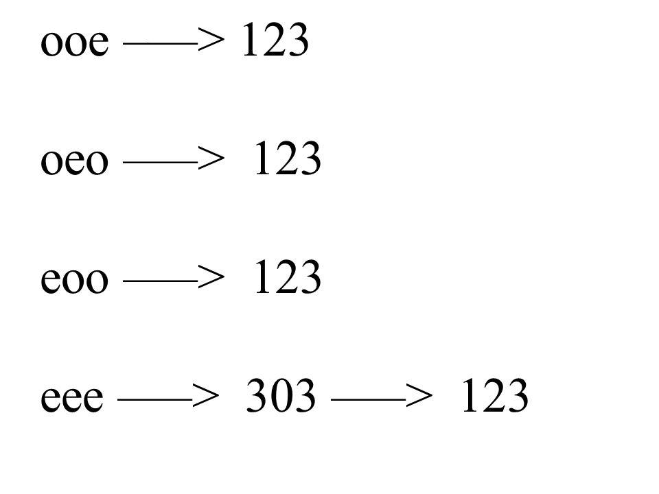 ooe –––> 123 oeo –––> 123 eoo –––> 123 eee –––> 303 –––> 123
