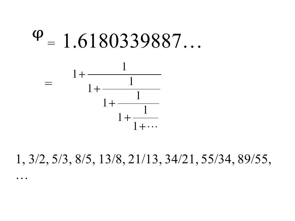 ᵠ = 1.6180339887… = 1, 3/2, 5/3, 8/5, 13/8, 21/13, 34/21, 55/34, 89/55, …