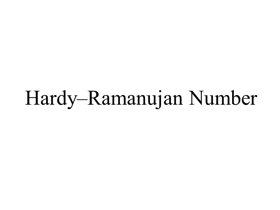 Hardy–Ramanujan Number