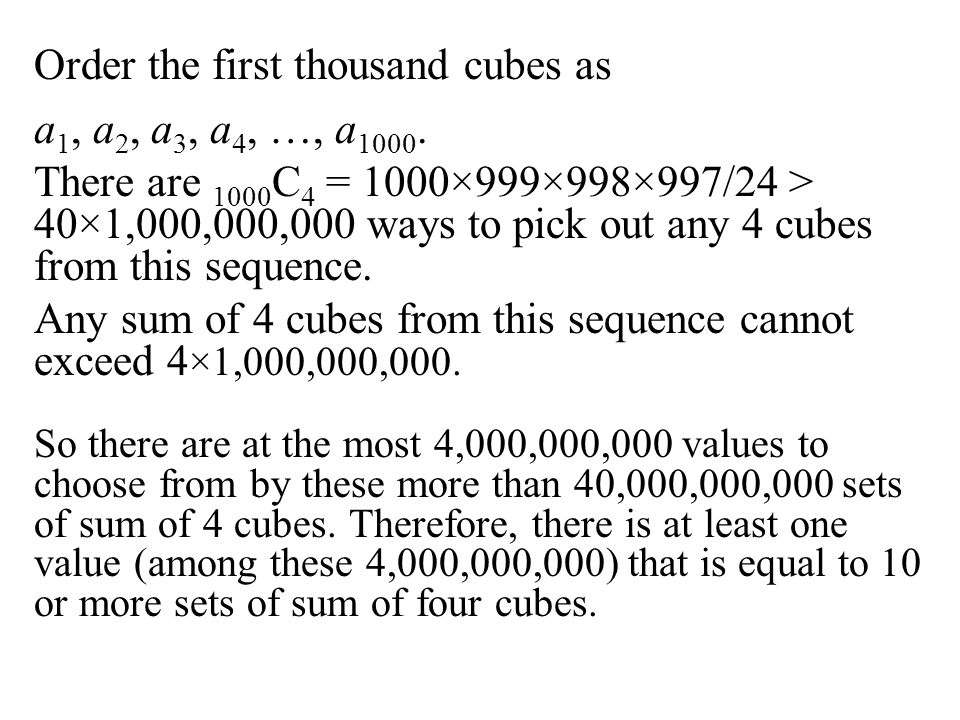 Order the first thousand cubes as a1, a2, a3, a4, …, a1000.