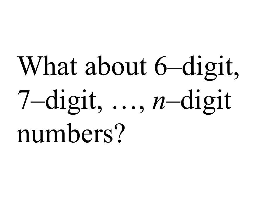 What about 6–digit, 7–digit, …, n–digit numbers