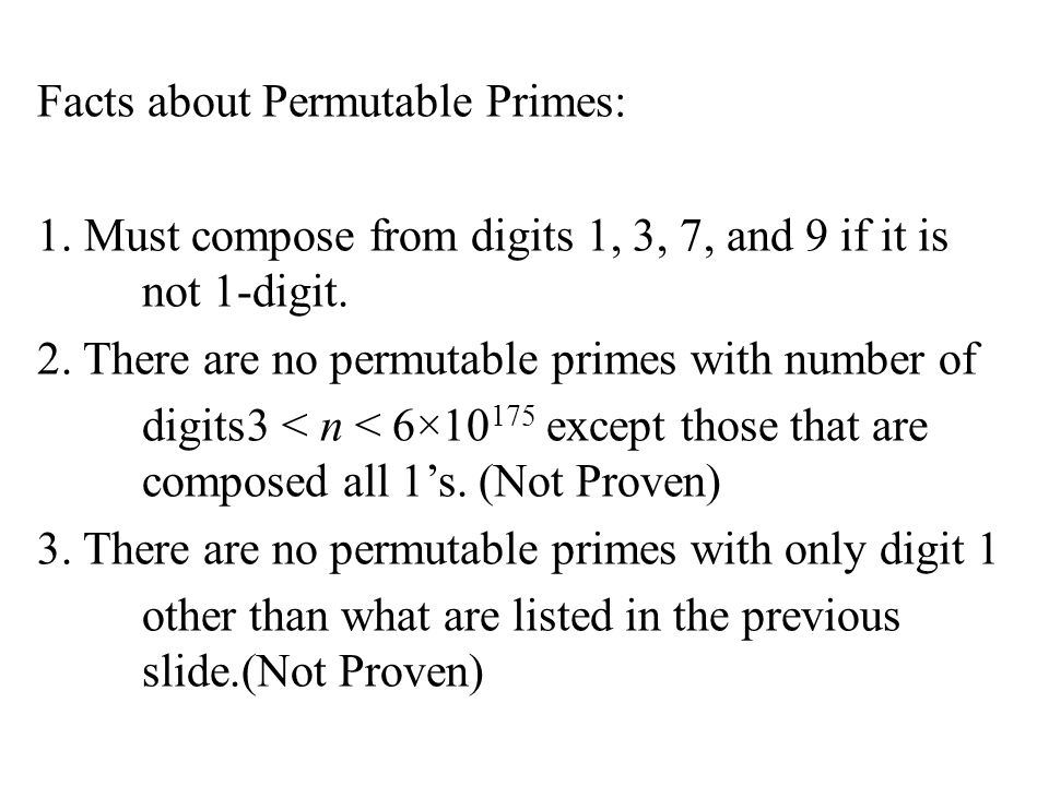 Facts about Permutable Primes: 1