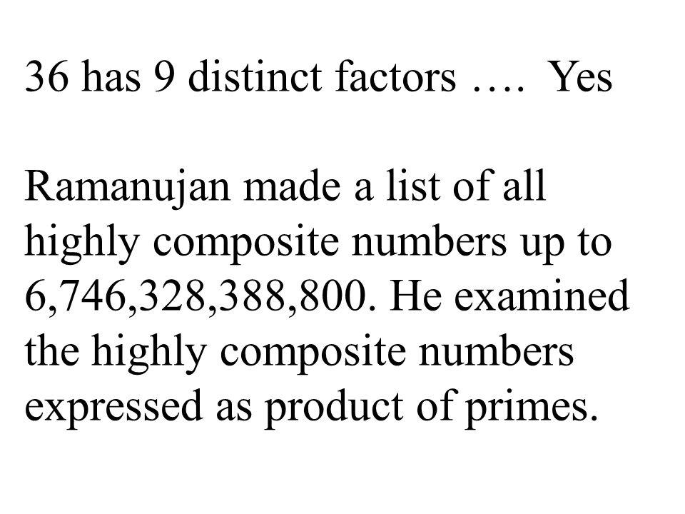 36 has 9 distinct factors ….
