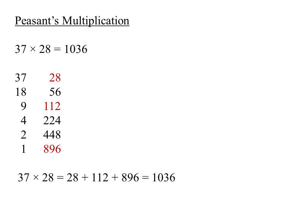 Peasant's Multiplication