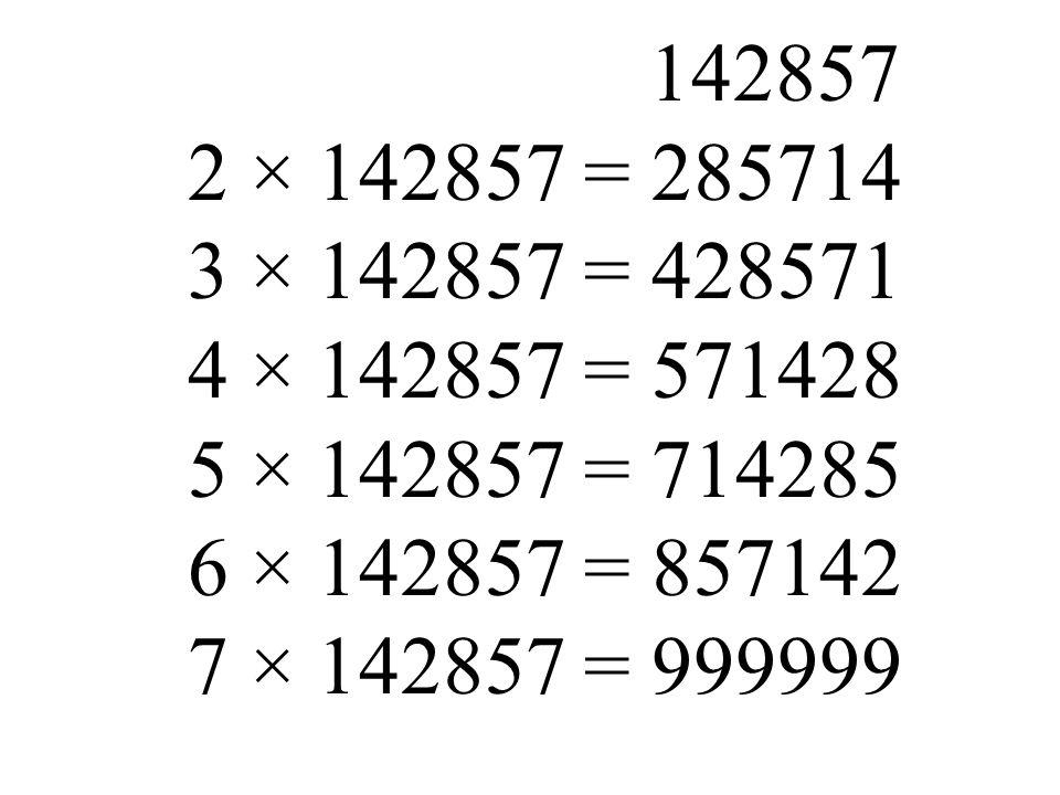 142857 2 × 142857 = 285714. 3 × 142857 = 428571. 4 × 142857 = 571428. 5 × 142857 = 714285. 6 × 142857 = 857142.