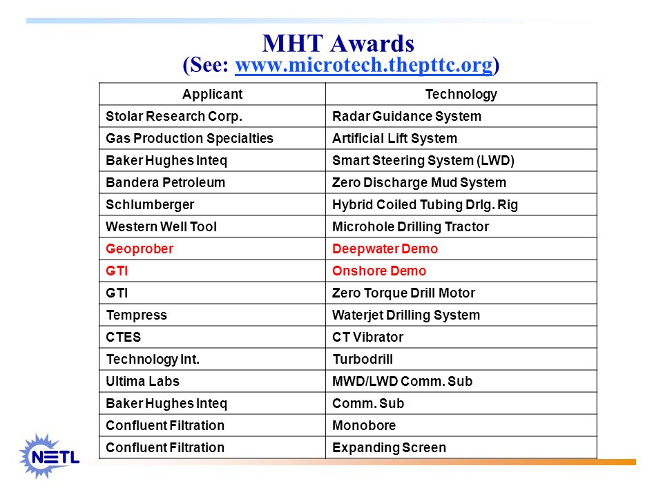 MHT Awards (See: www.microtech.thepttc.org)