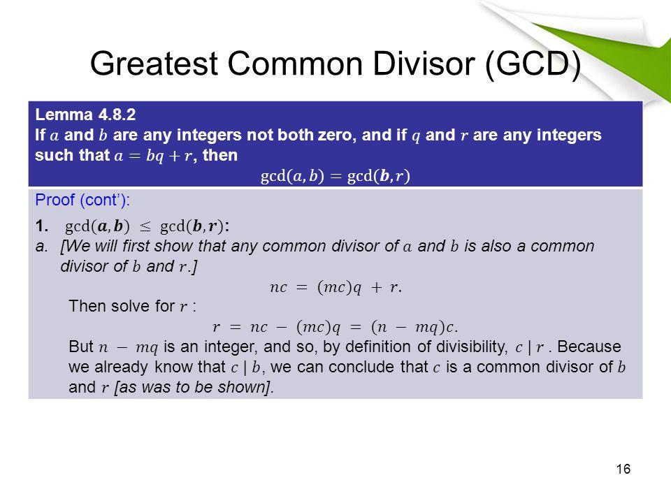 Greatest Common Divisor (GCD)