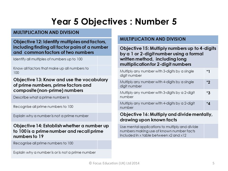 Year 5 Objectives : Number 5