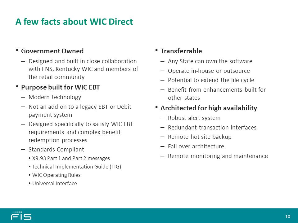 A few facts about WIC Direct