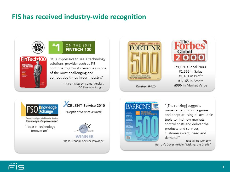 FIS has received industry-wide recognition