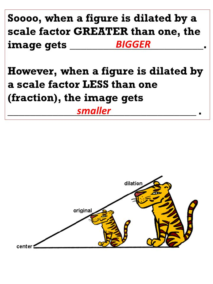 Soooo, when a figure is dilated by a scale factor GREATER than one, the image gets ________________________.